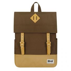 Рюкзак 8848 коричнево бежевый 173-002-034 с фирменным пятачком на крышке