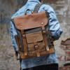Рюкзак ИРВИНГ из натуральной кожи и непромокаемого холста