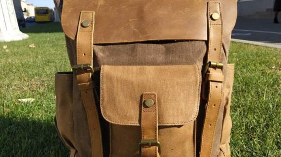 Крафтовый рюкзак ИРВИНГ из натуральной кожи и канваса